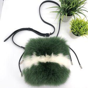Zara Genuine Rabbit Fur Drawstring Crossbody Bag